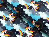 Black Rainbow Clouds Unicorns Jersey - Kailuna Fabrics Uk Jersey Fabric