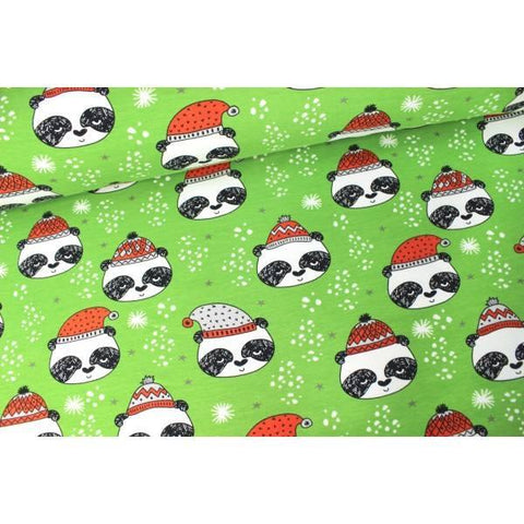 Andrea Lauren Green Pandas Organic French terry Christmas