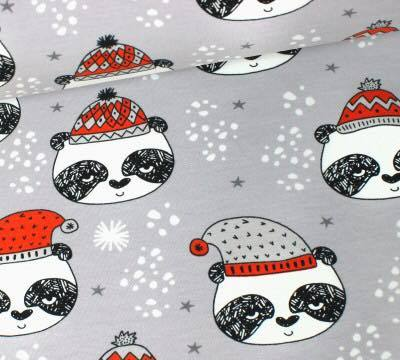 Andrea Lauren Grey Pandas Organic French terry Christmas