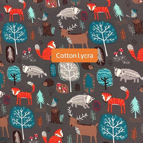 Fox and Badger Woodland French Terry Pre order - Kailuna Fabrics Uk Jersey Fabric