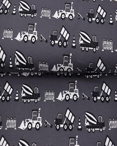 Construction Grey Jersey - Kailuna Fabrics Uk Jersey Fabric
