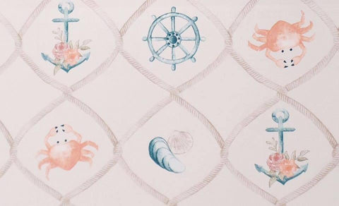 Anchors and Crabs Watercolour Organic Jersey - Kailuna Fabrics Uk Jersey Fabric