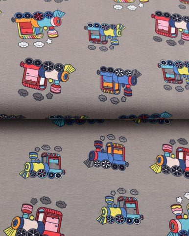 Grey Trains Jersey - Kailuna Fabrics Uk Jersey Fabric