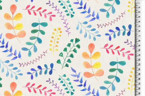 Floating Leaves Jersey - Kailuna Fabrics Uk Jersey Fabric