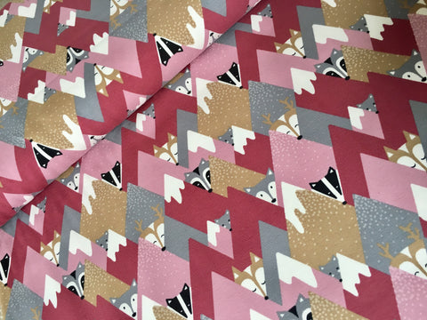 Fox Triangles Pink Christmas Organic Jersey
