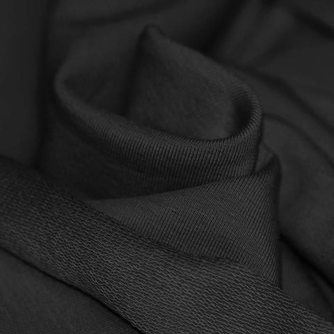 Black French Terry Sweat Jersey solid - Kailuna Fabrics Uk Jersey Fabric