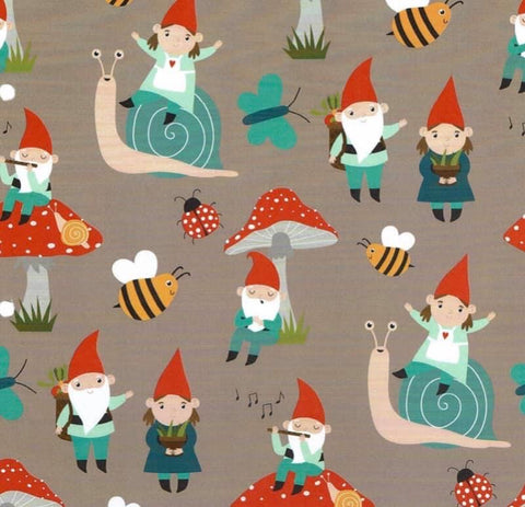 Gnomes and toadstools brown Jersey PRE ORDER - Kailuna Fabrics Uk Jersey Fabric