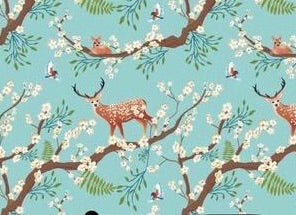 Deer Blossom Christmas French Terry