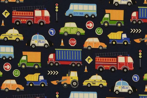 Cars and lorries traffic navy Jersey PRE ORDER - Kailuna Fabrics Uk Jersey Fabric