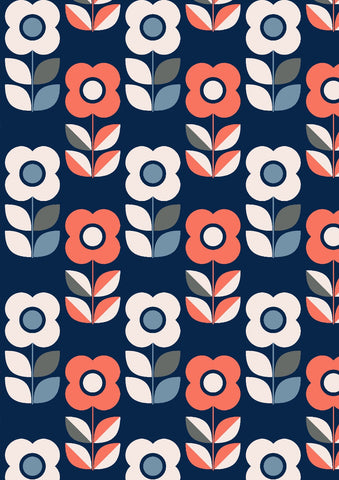 Blue flowers retro Jersey - Kailuna Fabrics Uk Jersey Fabric