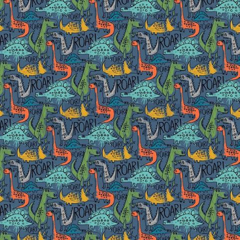 Blue Dino roar Softshell fleece lined fabric  PRE ORDER - Kailuna Fabrics Uk Jersey Fabric