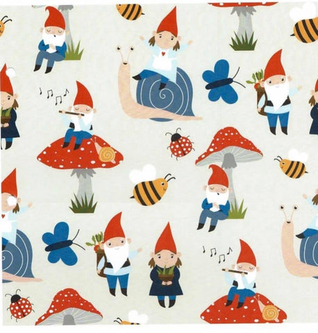 Gnomes and toadstools cream Jersey PRE ORDER - Kailuna Fabrics Uk Jersey Fabric