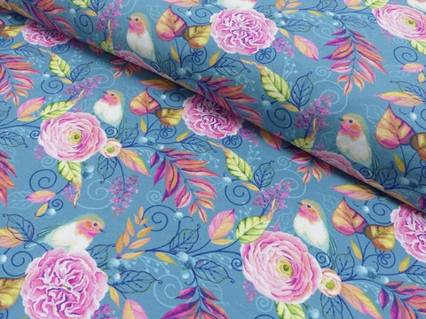 Blue robins and roses Jersey PRE ORDER - Kailuna Fabrics Uk Jersey Fabric