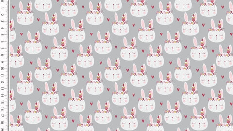 Grey Bunny French Terry PRE ORDER - Kailuna Fabrics Uk Jersey Fabric