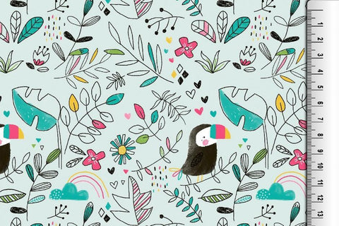 Toucan and hearts Jersey - Kailuna Fabrics Uk Jersey Fabric
