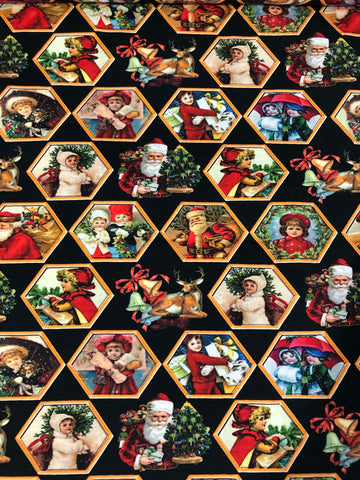 Digital Father Christmas Hexagon Jersey - Kailuna Fabrics Uk Jersey Fabric