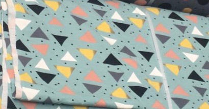 Green Triangles Jersey - Kailuna Fabrics Uk Jersey Fabric