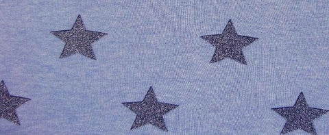 Blue Star Glitter Sweatshirting