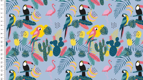 Blue Toucan Jungle Jersey - Kailuna Fabrics Uk Jersey Fabric