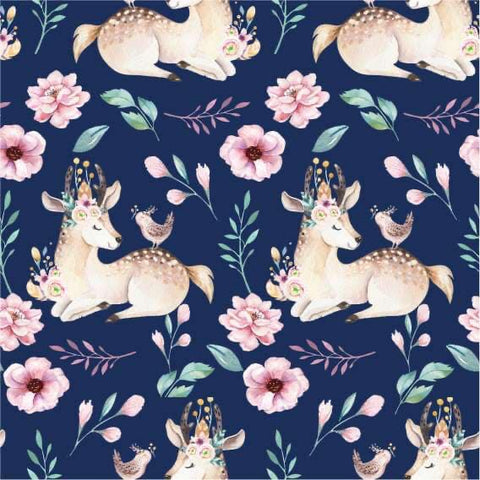 Flower deer french terry PRE ORDER - Kailuna Fabrics Uk Jersey Fabric