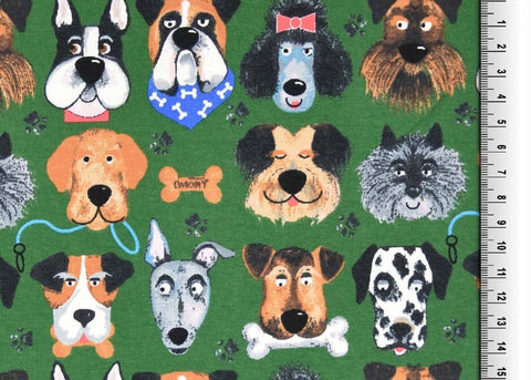 Green dogs Jersey - Kailuna Fabrics Uk Jersey Fabric