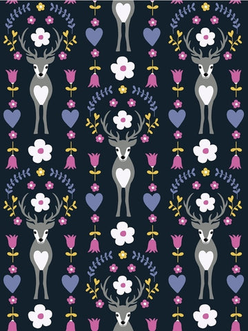 Deer Flower Black FT PRE ORDER - Kailuna Fabrics Uk Jersey Fabric