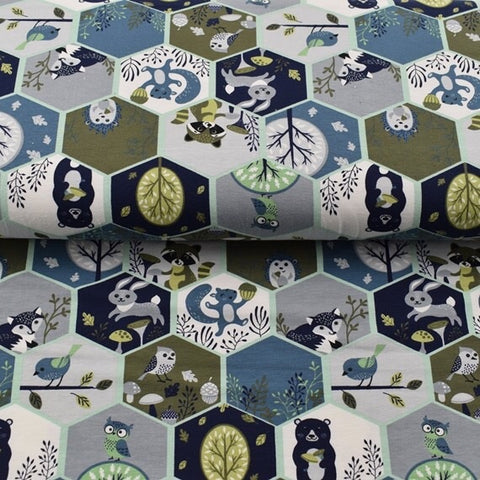Hexagonal animals Jersey - Kailuna Fabrics Uk Jersey Fabric