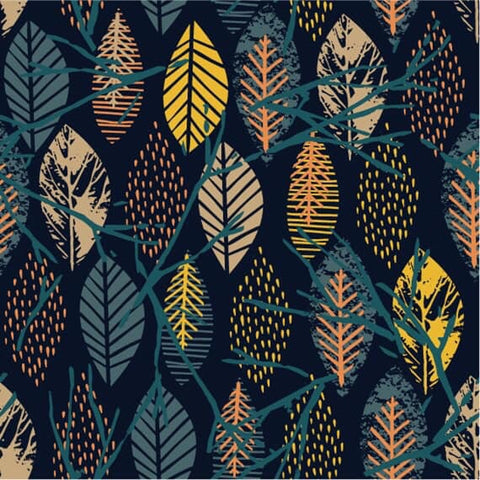 Leaves French Terry PRE ORDER - Kailuna Fabrics Uk Jersey Fabric
