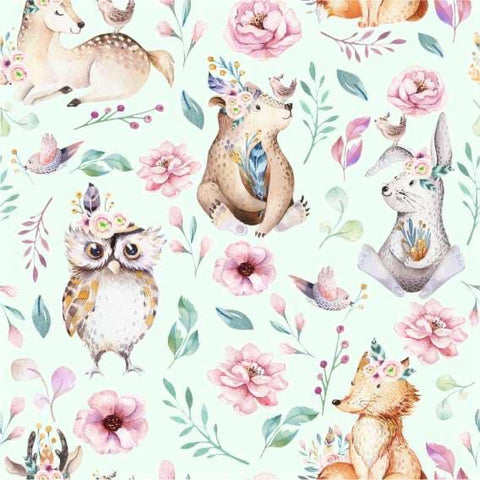 Owl bear rabbit mint french terry PRE ORDER - Kailuna Fabrics Uk Jersey Fabric