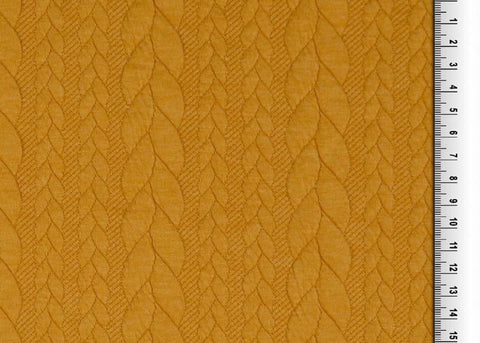 Cable knit jacquard stretch mustard PRE ORDER - Kailuna Fabrics Uk Jersey Fabric