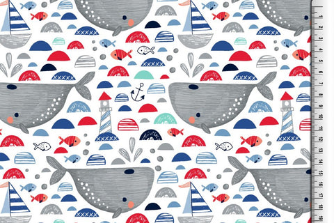 Red Lighthouse Whales Jersey - Kailuna Fabrics Uk Jersey Fabric