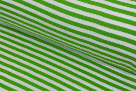 Green and White Stripes Jersey PRE ORDER - Kailuna Fabrics Uk Jersey Fabric