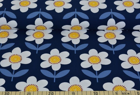 Blue Retro Flowers Jersey PRE ORDER - Kailuna Fabrics Uk Jersey Fabric