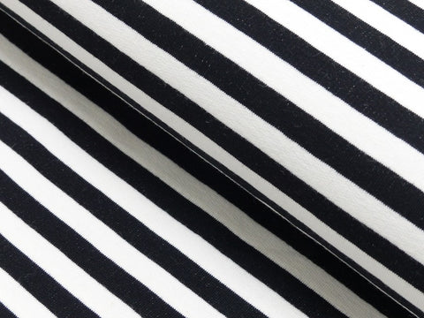 black and White Stripe French terry yarn dyed - Kailuna Fabrics Uk Jersey Fabric