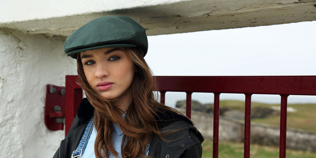 Female Model Wearing Vintage Cap Linen Eucalyptus