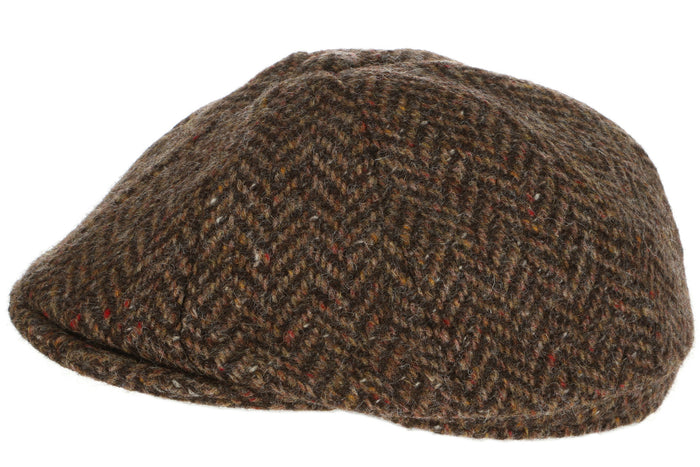 Hanna Hats Newsboy Cap Tweed Brown Herringbone