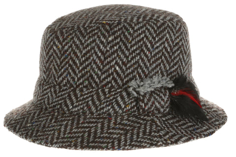 15 Dave Hat Tweed Grey Herringbone