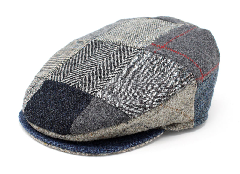 Hanna Hats Vintage Cap Patchwork Grey Blue Tweed