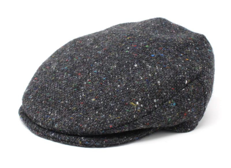 Hanna Hats Vintage Cap Tweed Dark Grey Charcoal Fleck Salt & Pepper