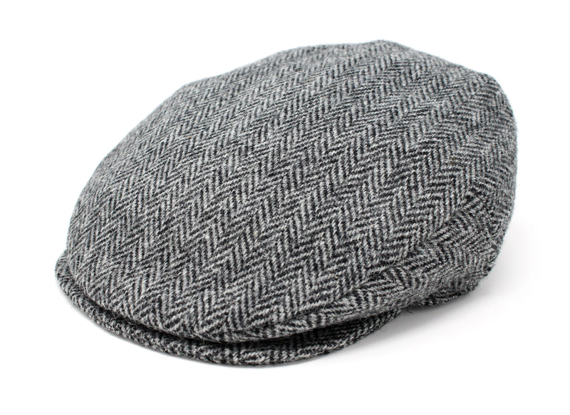 Hanna Hats Vintage Cap Tweed - Classic Black & White Herringbone - Harris Scottish Tweed