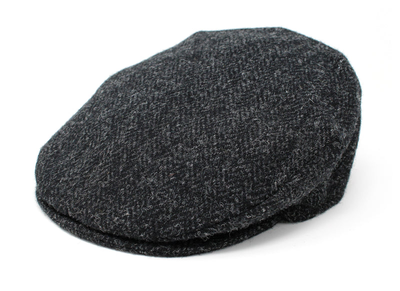 Hanna Hats Vintage Cap Tweed - Black & Charcoal Herringbone - Harris Scottish Tweed