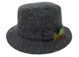 Hanna Hats Walking Hat Tweed - Dark Grey Charcoal Fleck Salt & Pepper Tweed