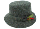 Hanna Hats Walking Hat Tweed - Dark Green Fleck Salt & Pepper