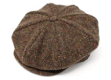 Hanna Hats Eight Piece Cap Tweed - Brown Fleck Salt & Pepper