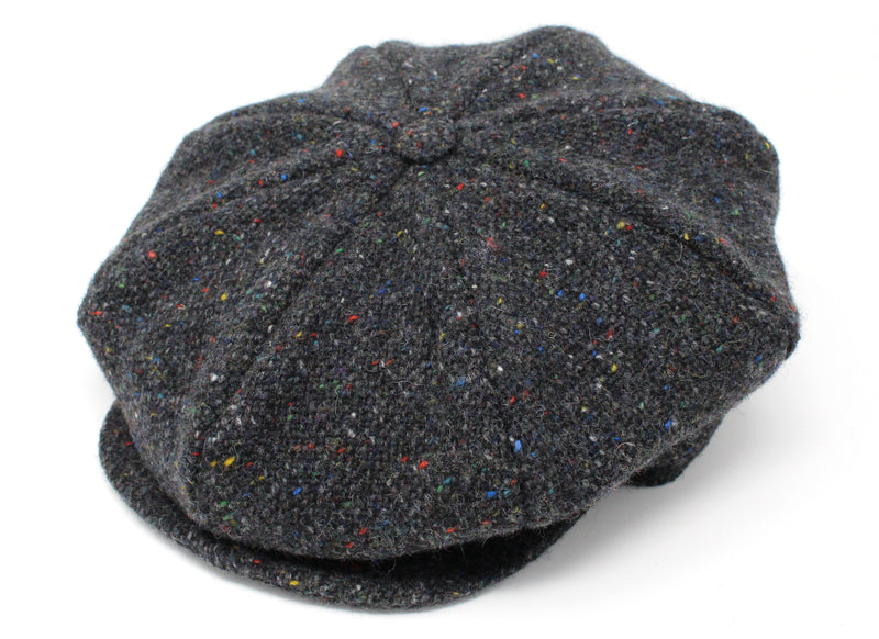 Hanna Hats Eight Piece Cap Tweed - Dark Grey Charcoal Fleck Salt & Pepper
