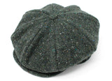 Hanna Hats Eight Piece Cap Tweed - Dark Green Fleck Salt & Pepper