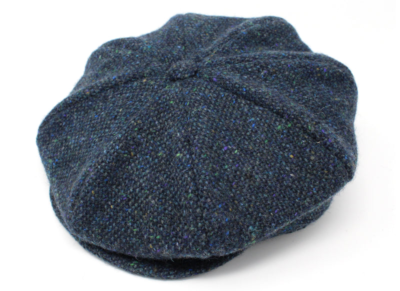 Hanna Hats Eight Piece Cap Tweed - Navy & Aqua Salt & Pepper