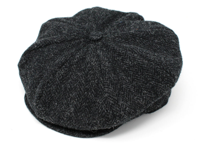 Hanna Hats Eight Piece Cap Tweed - Black & Charcoal Herringbone - Harris Scottish Tweed