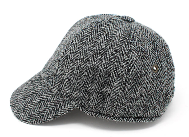 Hanna Hats Baseball Cap Tweed - Classic Black & White Herringbone