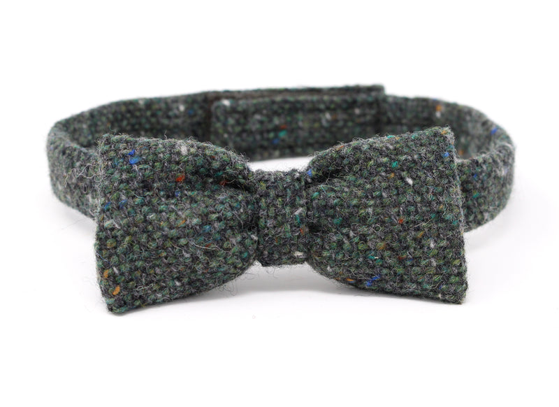 Hanna Hats Bow Tie Tweed - Dark Green Fleck Salt & Pepper